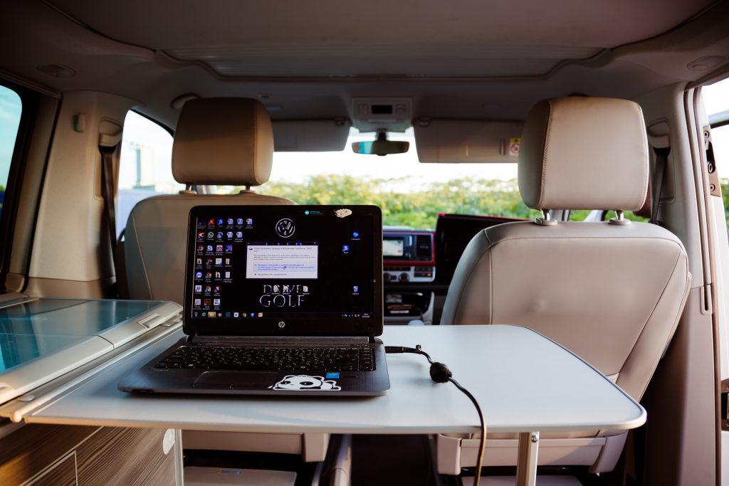 laptop in a camper van for digital nomads