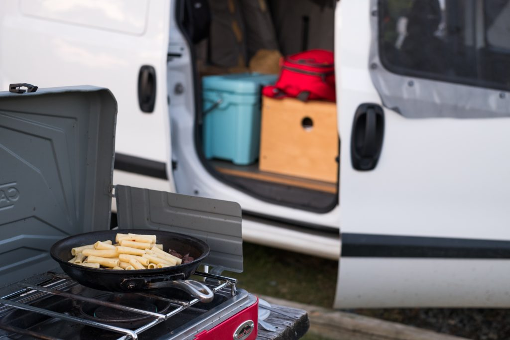 cooking outside of a van