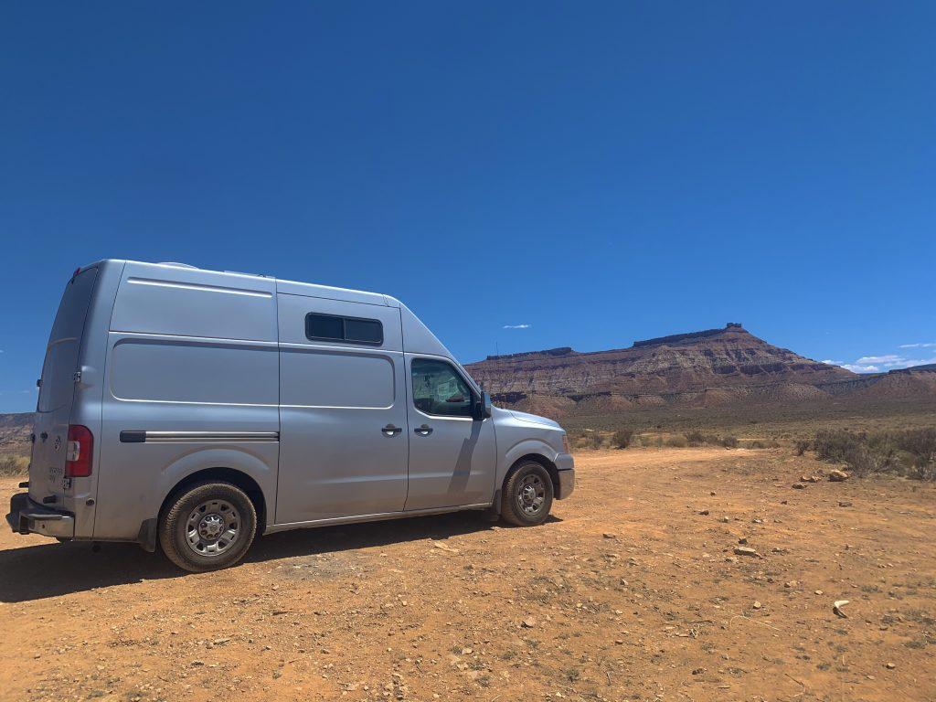 van parked in free campsites