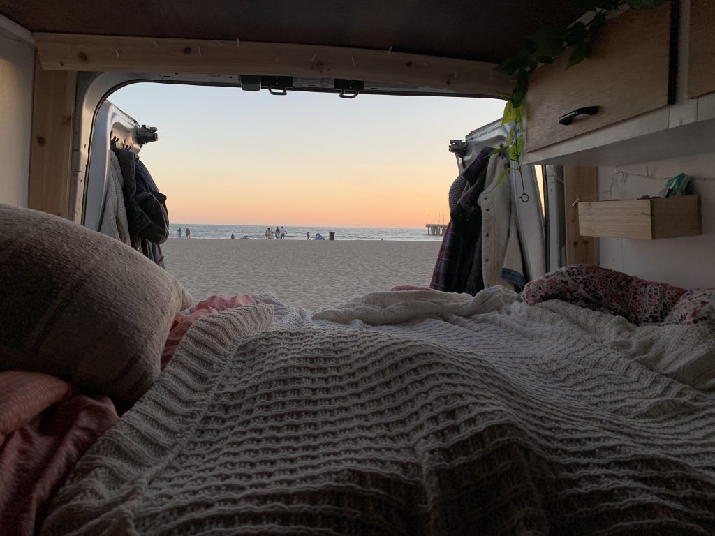 view looking out of back of van