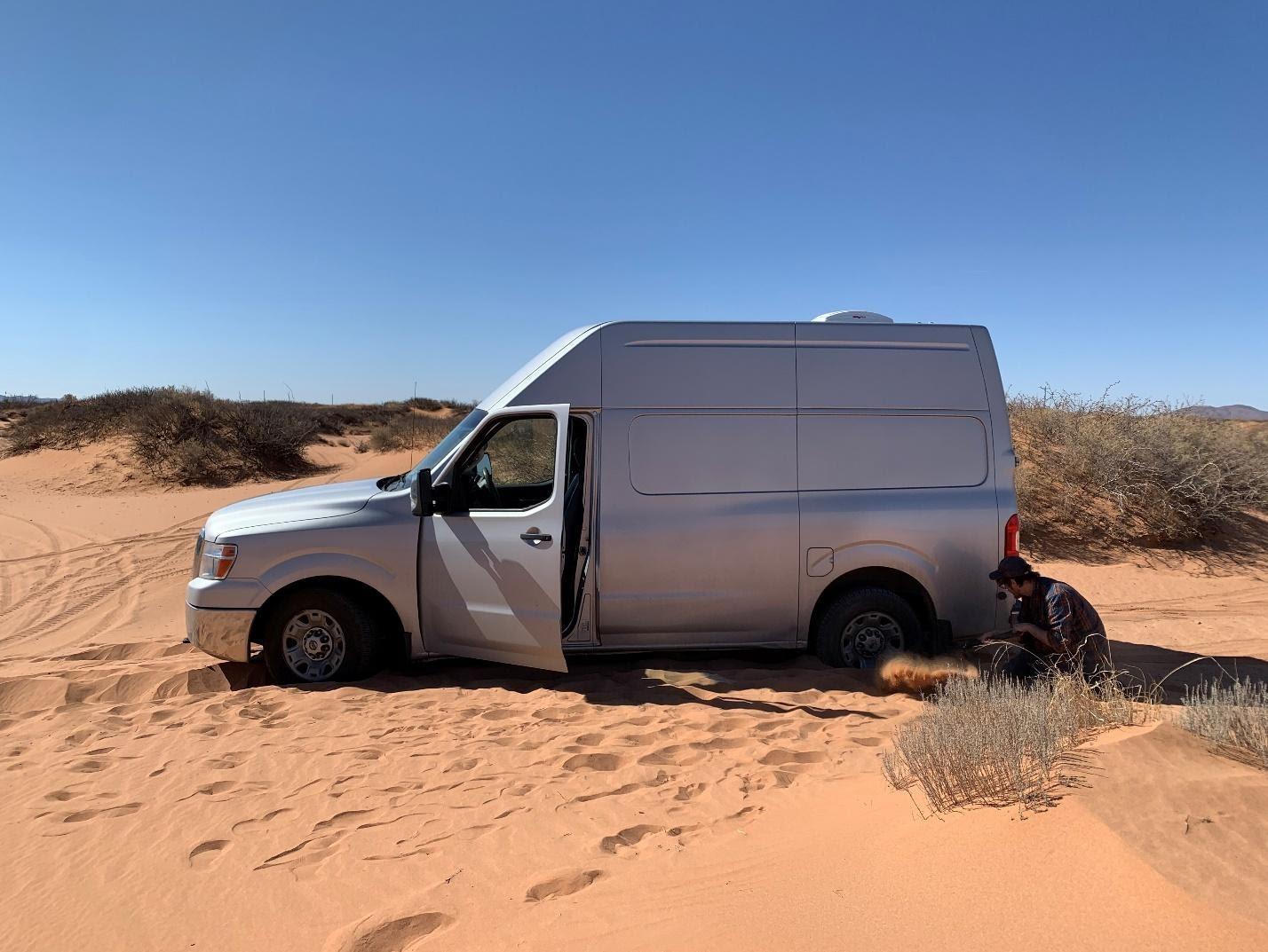 van life in desert campsite