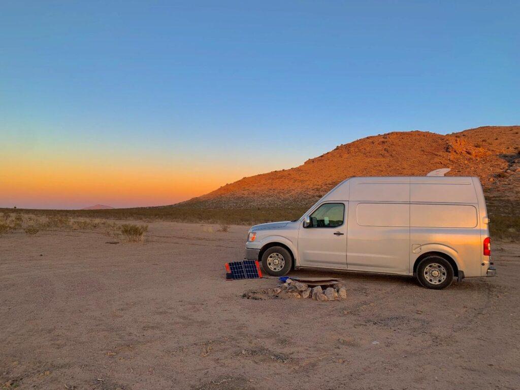 Nissan van parked in a desert