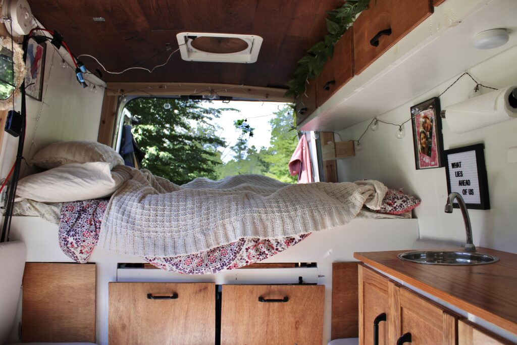 Interior of a campervan home showing the van bed