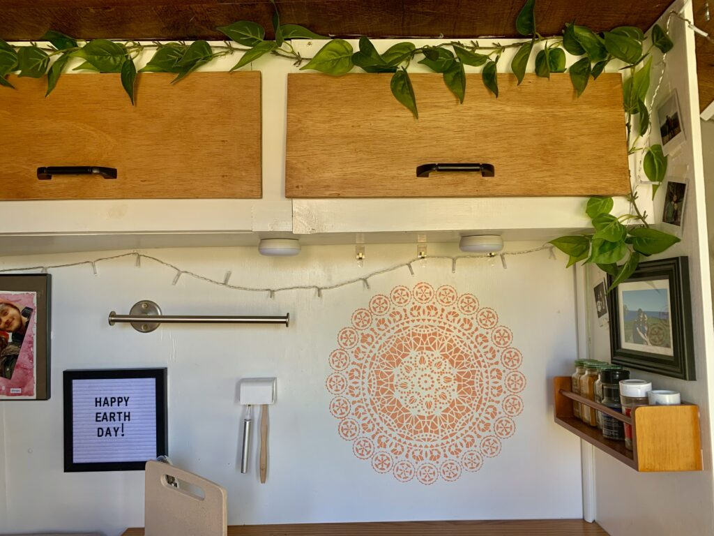 Decorated prep space in a van home