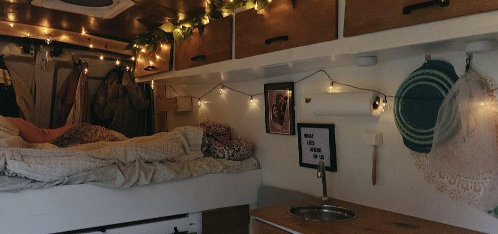 Interior of cozy campervan home