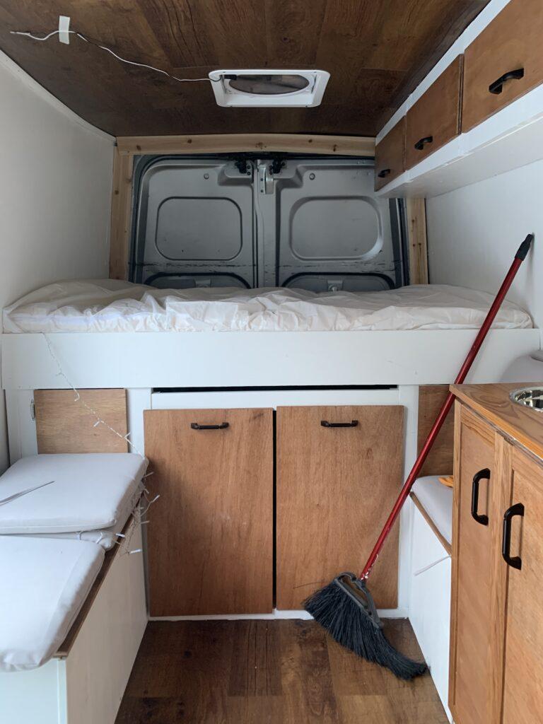 Stationary platform bed in DIY van build