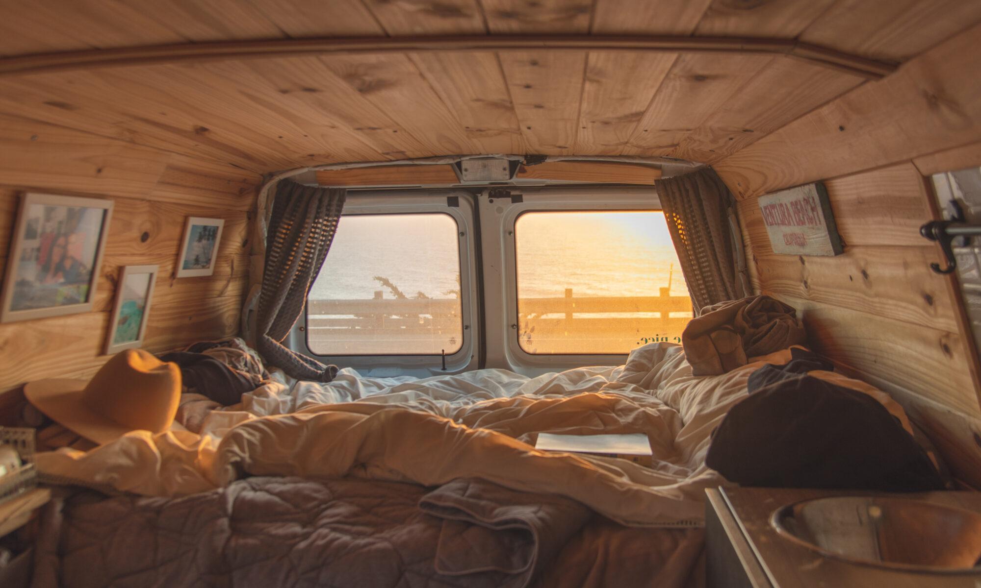 Sunset Through The Back Window of Van